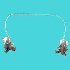 Vintage Sterling Silver Bear Baby Clip for Bibs
