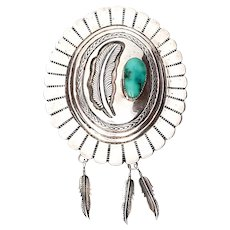 Signed Native American Sterling Silver Turquoise Concho Bolo Tie (No Leather)