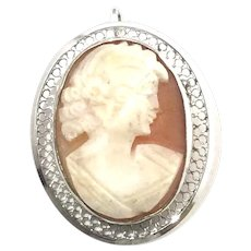 Beau Sterling Silver Cameo Brooch Pin/Pendant