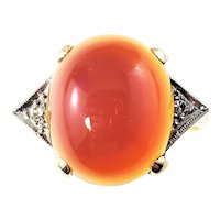 Vintage 10 Karat Yellow Gold and Carnelian Ring Size 6.75