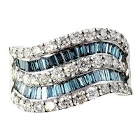 Vintage 14 Karat White Gold Color Treated Blue and White Diamond Band Ring Size 6.75