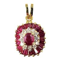 Vintage Le Vian 18 Karat Yellow Gold Ruby and Diamond Pendant