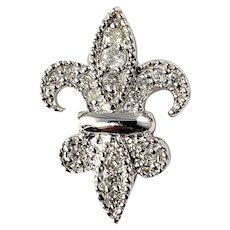 Vintage 14 Karat White Gold and Diamond Fleur-De-Lis Pendant