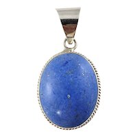 Vintage Taxco Mexico TM-287 Sterling Silver and Denim Lapis Pendant