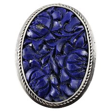 Vintage Sterling Silver Chinese Carved Lapis Brooch Clip