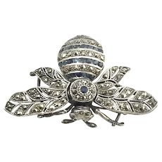Sterling Silver Marcasite Fly or Bee Pin/Brooch