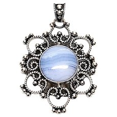 MWS Mexico Sterling Silver and Blue Lace Agate Pendant