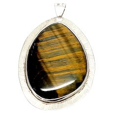 Vintage Mexico Sterling Silver Tiger's Eye Pendant Signed LMH