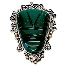E Ortiz Mexico Sterling Silver Green Onyx Carved Mask Pendant/Pin