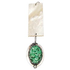 Antique Chinese Mother of Pearl Gaming Chip and Carved Jade Pendant, Monogram
