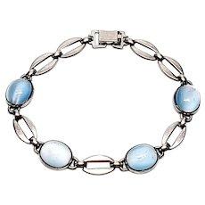 Vintage WE Richards Sterling Silver Moonstone Link Bracelet