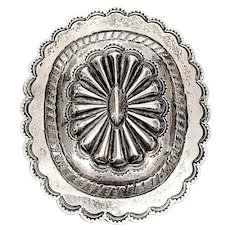Large Sterling Silver Concho Buckle