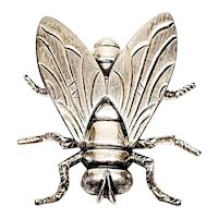 Vintage Beau Sterling Silver Large Fly Pin