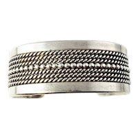 Vintage Navajo Ron Yazzie Sterling Silver Cuff Bracelet