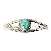 Vintage Native American Tony Guerro Sterling Silver Turquoise Bracelet
