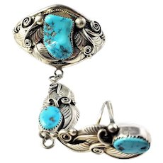 Vintage Native American Apachito Sterling Silver Turquoise Slave Bracelet
