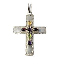 Vintage native American AC Sterling Silver Multi-Stone Cross Pendant