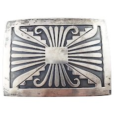 Vintage Native American Silver Overlay Large Belt Buckle