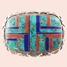Vintage Native American Silver, Turquoise, Coral and Lapis Inlay Belt Buckle