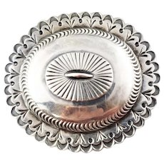 Vintage Native American Sterling Silver Concho Belt Buckle