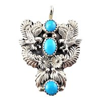 Vintage Navajo Richard Begay Sterling Silver Turquoise Eagle Pendant