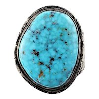 Vintage Navajo Tony Guerro Sterling Silver Turquoise Ring