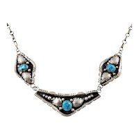 Vintage Native American Sterling Silver Oxidized Turquoise 3 Panel Link Necklace