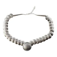 Vintage Native American Sterling Silver Hollow Disc Link Necklace