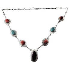 Vintage Native American PN Sterling Silver Multi-Stone Link Necklace