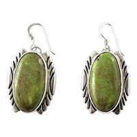 Vintage Native American RC Sterling Silver Green Turquoise Wire Hook Earrings
