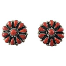 Vintage Native American Zuni Phyllis Coonsis Sterling Silver Petit Point Coral Earrings
