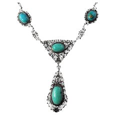 Vintage Italy 900 Silver Turquoise Filigree Necklace