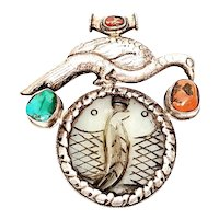 Large Antique Tibetan Silver Bird Over Carved Jade Double Fish Pendant