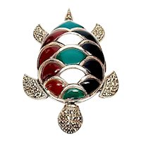 Sterling Silver Marcasite and Multi-Stone Turtle Pin/Pendant