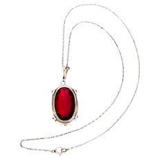 "Vintage 830 Silver Large Garnet Pendant on 800 Silver ""S"" Link Chain"