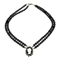 Sterling Silver Mother of Pearl and Onyx Cameo on Double Strand Bead Necklace