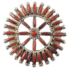 Vintage Native American R. Paquin Silver Coral Needlepoint Pendant Brooch/Pin