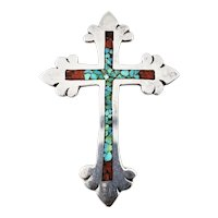 Vintage Navajo Charlie Singer Crushed Turquoise and Coral Silver Cross Pendant