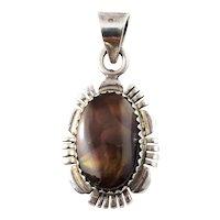 Vintage Navajo Melvin Francis Sterling Silver Pietersite Pendant