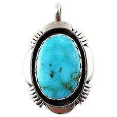 Vintage Navajo L.M. Nez Sterling Silver Turquoise Pendant