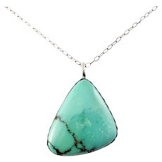 Vintage Native American CA'WIN Jimmy Calabaza Silver Triangular Turquoise Pendant Necklace