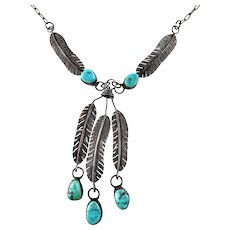 Vintage Native American Sterling Silver Turquoise Feather Dangle Necklace