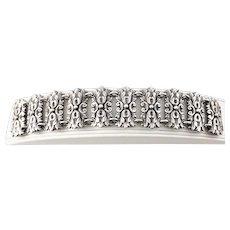 Vintage Mexico Silver Repousse Wide Panel Link Bracelet