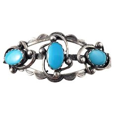 Vintage Native American Sterling Silver Turquoise Cuff Bracelet