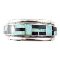 Vintage Zuni Rickell & Glendora Booga Sterling Silver Onyx and Opal Cuff Bracelet