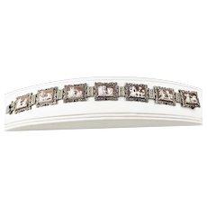 Vintage 800 Silver Marcasite Abalone Panel Link Cameo Bracelet
