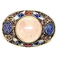 Antique Chinese Gold Gilt over Silver Enamel and Rose Quartz Cannetille Pin