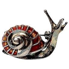 Vintage Italian Sterling Silver and Enamel Snail Pin