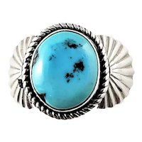 Vintage Navajo Francis Fred Sterling Silver Turquoise Ring Size 11