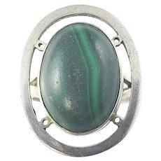 Vintage Mexico Carmen Beckmann Sterling Silver Malachite Ring Size 5.75